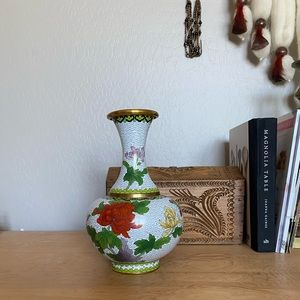 Painted Brass Floral Vase |